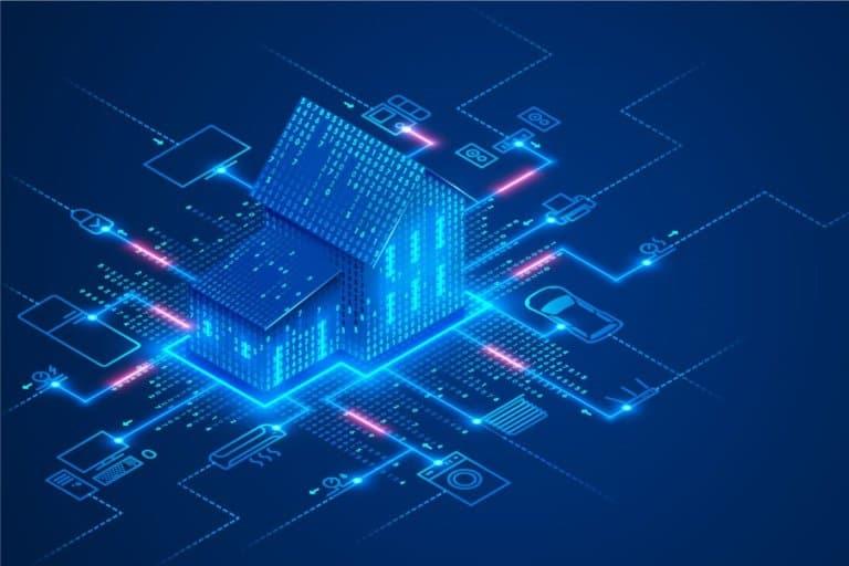 Konzeptionelles Banner der Smart Home-Technologie. Das Gebäude besteht aus Ziffern und ist mit Symbolen für Haushalts-Smart-Geräte verbunden. Illustrationskonzept des intelligenten Kontrollhauses des Systems auf blauem Hintergrund.