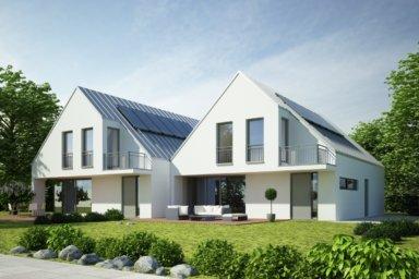 Modernes Doppelhaus, schlüsselfertig mit Solaranlage