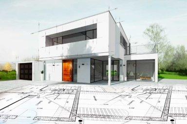 Eine 3-D-Ansicht eines modernen Hauses mit Planunterlagen