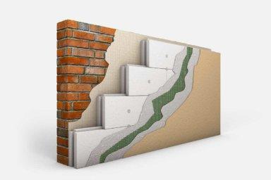 Das Schema einer Wand mit Dämmung, Armierungsputz, Gewebe und Oberputz