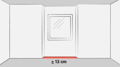 Das Bild zeigt zwei unterschiedliche Fensternischen bzw. Fensterlaibungen, die bis zum Fußboden reichen. Diese Flächen werden voll auf die Wohnfläche angerechnet, wenn sie mindestens 13 cm tief sind und die Höhe mindestens 2 m beträgt.