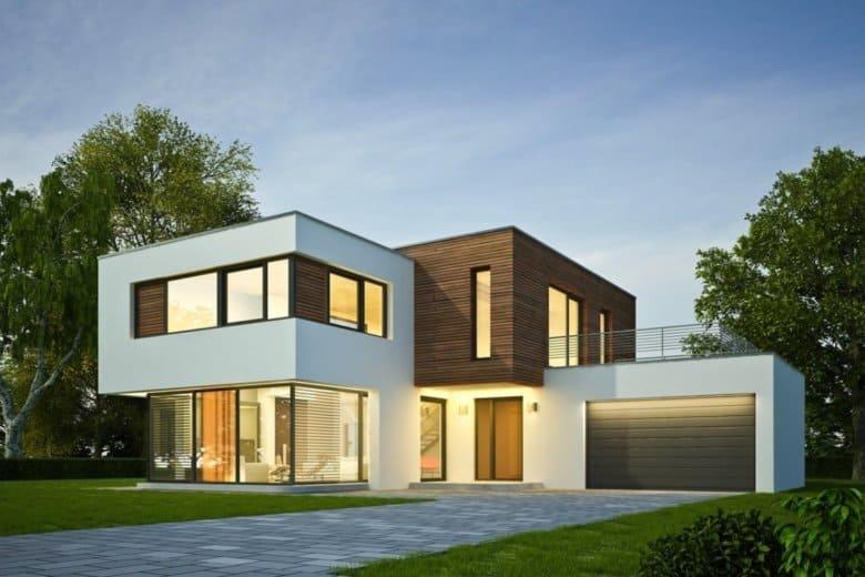 Ein modernes Haus in der Dämmerung