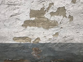 Eine alte Fassade mit ablösender Farbe und ablösendem Putz.