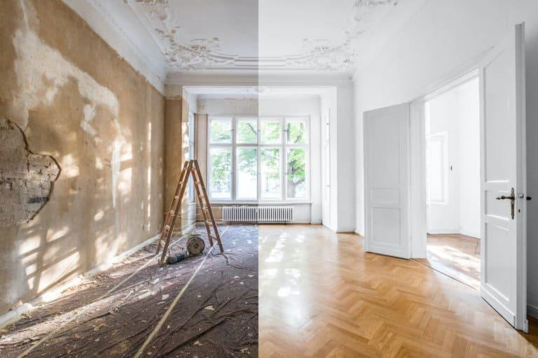 Eine Wohnung vor und nach der Renovierung